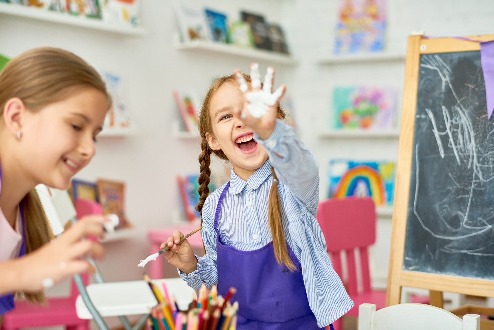Children Having Fun with Paint