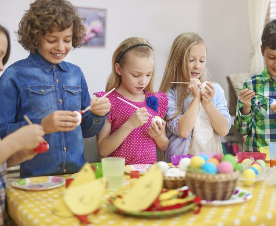 Preparing for Easter by group of kids